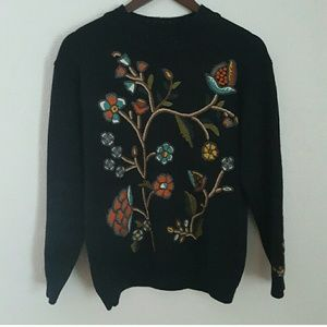 Vintage René Derby Paris Floral Wool Sweater